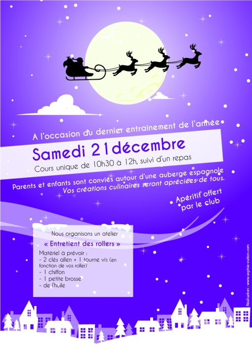 Affiche cours Noël section patinage Pamiers Roller Hockey